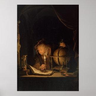 Astrónomo por el poster de la luz de una vela