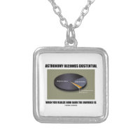 Astronomy Becomes Existential When Realize Dark Square Pendant Necklace