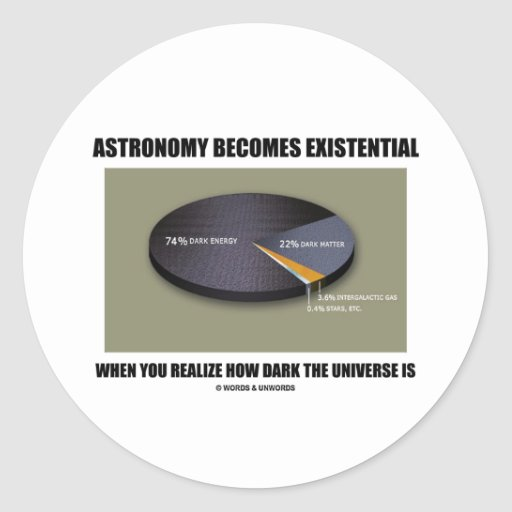 Astronomy Becomes Existential When Realize Dark Round Stickers