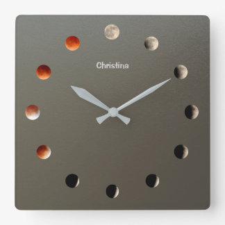 Astronomy Blood Moon Eclipse Time Lapse Custom Square Wall Clock