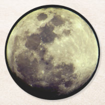 Astronomy | Detailed Moon Round Paper Coaster