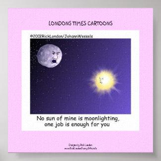Astronomy Moonlighting Cartoon Funny Canvas Print