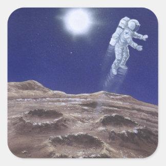 Astronuat sobre Mercury Pegatina Cuadrada
