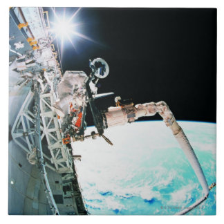 Astronuat Working in Space Ceramic Tile