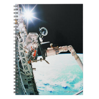 Astronuat Working in Space Spiral Notebook