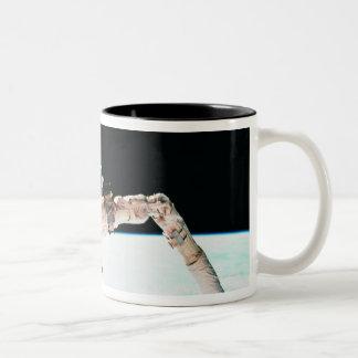Astronuat Working in Space Two-Tone Coffee Mug