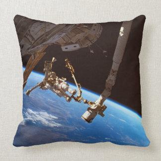 Astronuats Walking Throw Pillow