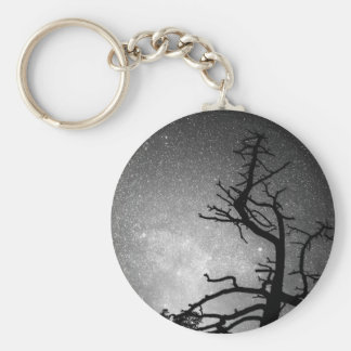 Astrophotography Night Black and White Portrait Basic Round Button Keychain