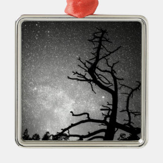 Astrophotography Night Black and White Portrait Square Metal Christmas Ornament