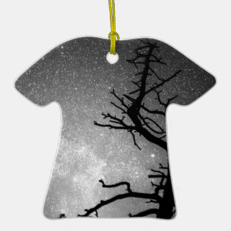 Astrophotography Night Black and White Portrait Double-Sided T-Shirt Ceramic Christmas Ornament