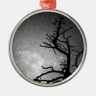 Astrophotography Night Black and White Portrait Round Metal Christmas Ornament