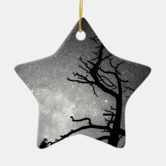 Astrophotography Night Black and White Portrait Double-Sided Star Ceramic Christmas Ornament