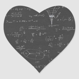 Astrophysics diagrams and formulas heart sticker