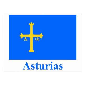 Asturias flag with name postcard