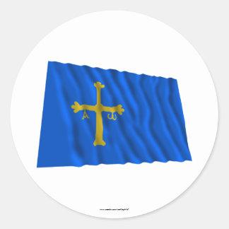 Asturias waving flag classic round sticker