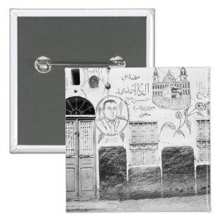Asuán Egipto, casa adornada Pin Cuadrado
