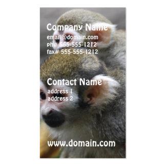 Asunto de familia del mono de ardilla plantilla de tarjeta de negocio