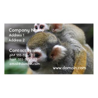 Asunto de familia del mono de ardilla tarjeta personal