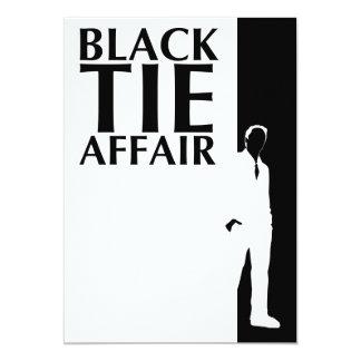 """asunto de lazo negro: silueta seria invitación 5"""" x 7"""""""