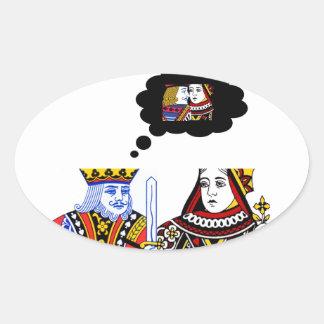 Asunto del rey y de la reina pegatina ovalada