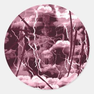 Asura anger classic round sticker