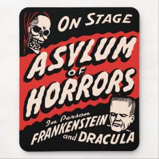 Asylum of Horrors Vintage Spook Show Poster Mouse Pad