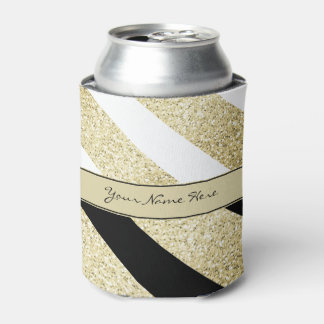 Asymmetric Black White and Gold Diagonal Stripes Can Cooler