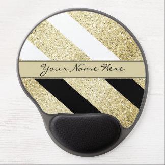 Asymmetric Black White and Gold Diagonal Stripes Gel Mouse Pad