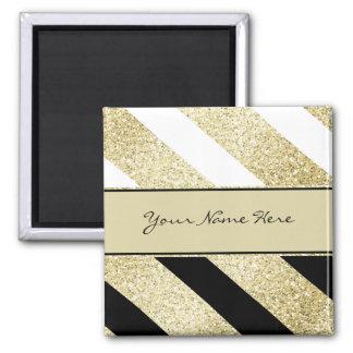 Asymmetric Black White and Gold Diagonal Stripes Magnet