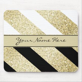 Asymmetric Black White and Gold Diagonal Stripes Mouse Pad