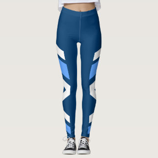 Asymmetric Side Band Blue Shades Leggings