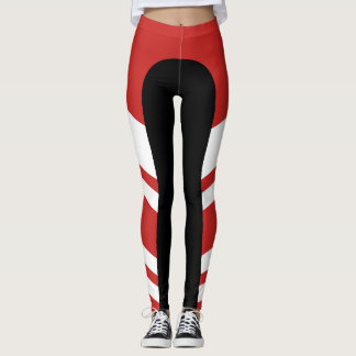 Asymmetric Side Band Red/White/Black Leggings