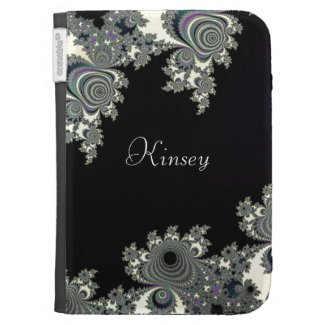 Asymmetrical Fractal in Black White Personalized Kindle Cases
