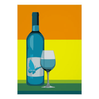 asyrum : pop wine glass and bottle poster