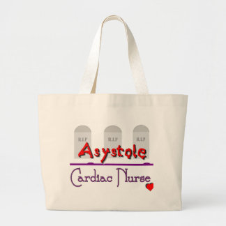 Asystole Cardiac Nurse w TOMBSTONES Large Tote Bag