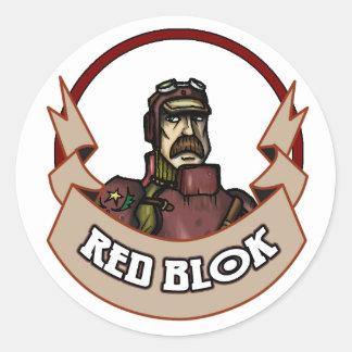 AT-43 Comic Red Blok Classic Round Sticker