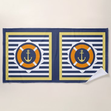 Beach Themed At Anchor Beach Towel