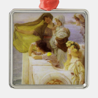 At Aphrodite's Cradle by Sir Lawrence Alma Tadema Metal Ornament