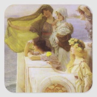 At Aphrodite's Cradle by Sir Lawrence Alma Tadema Square Sticker