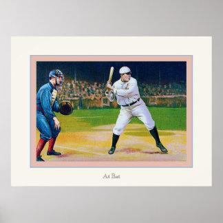 At Bat ~ Vintage Baseball Poster
