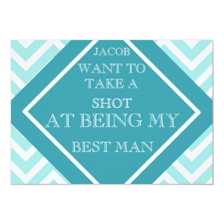 At Being My Best Man Aqua Blue Zigzag Pattern Card