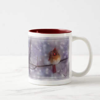 At Cold Day's End Lady Cardinal. Two-Tone Coffee Mug