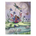 At Dusk Fairy Dragonfly Frog Poster Print