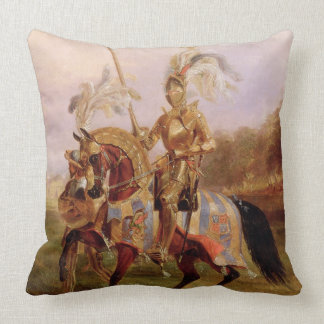 At Eglinton, Lord of the Tournament, 1840 (oil on Throw Pillow