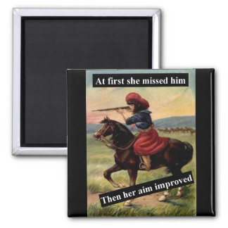 At First She Missed Him 2 Inch Square Magnet