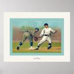 At First ~ Vintage Baseball Poster
