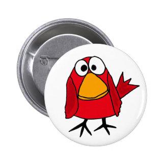 AT- Funny Sad Cardinal Bird Cartoon Button