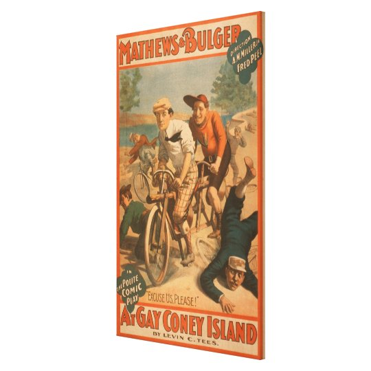 """""""At gay Coney Island"""" Musical Comedy Poster #1 Canvas Print"""