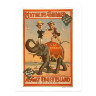 """At gay Coney Island"" Musical Comedy Poster #3 Postcard"