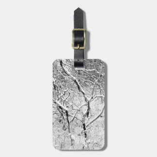 at home in snow luggage tag